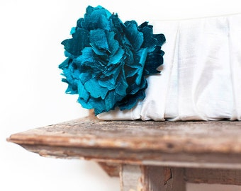 Peacock blue silk personalized bridesmaid clutch, Ivory wedding clutch