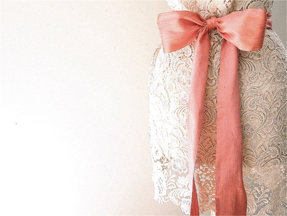 Unique Wedding Dress Sashes Belts: Bridal Sash Wedding Coral Pink Peach Wedding Sash Belt By Eclu