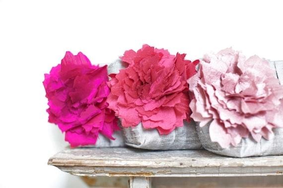 Fuchsia and blush pink wedding clutch, Wedding Gift, Bridesmaid gift, Personalized wedding gift, Silk wedding flower, Makeup bag, Clutch bag