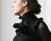 Sophisticated Victorian inspired Scarf Collar -- Felted Neck Piece -- made from wool
