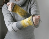 2 Pale Silver Gold Wrist Cuffs/Arm Warmers --  - Hand felted wool