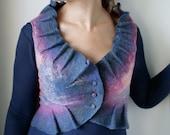Thulian River Reflections Bolero - Hand Felted made from wool OOAK - Wearable Art