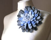 Cloudy Sky Dahlia -- Felt Flower Brooch -- Hand felted wool -- size Large