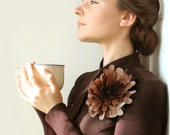 Cappuccino Dahlia -- Felt Flower Brooch -- Hand felted wool -- size X Large