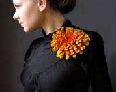 Warm Yellow Dahlia -- Felt Flower Brooch -- Hand felted wool -- size X Large