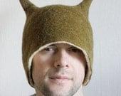 Olive Beetle Hat -- Hand Felted Wool -- Size Medium/Large