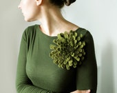 Moss Green Dahlia -- Felt Flower Brooch -- Hand felted wool -- size Large