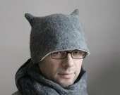 Gray Beetle Hat -- Hand Felted Wool -- Size Medium / Large