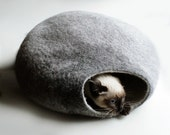Warm Gray Bubble - Hand Felted Wool Cat Bed / Vessel with side entrance - Crisp Contemporary Design