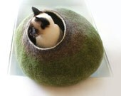 Cat Nap Cocoon / Cave / Bed / House / Vessel - Hand Felted Wool - Crisp Contemporary Design - READY TO SHIP Green Bubble