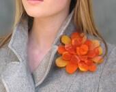 Orange Bomb -- Felt Flower Brooch