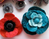 Special Flowers for C -- Felt Brooch -- Hand felted wool -- Large size