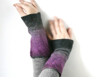 2 Silver Amethyst Wrist Cuffs/Arm Warmers - Hand felted wool