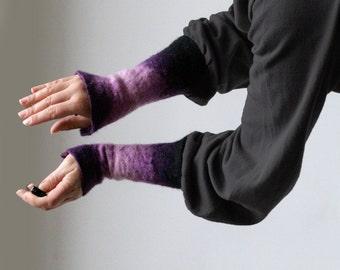 2 Purple Wrist Cuffs/Arm Warmers --  - Hand felted wool