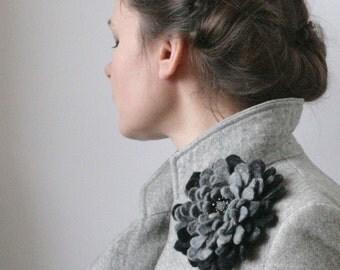 Gray Dahlia -- Felt Flower Brooch -- Hand felted wool -- size Large