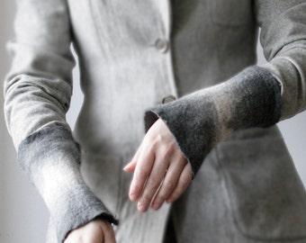 2 Gray Wrist Cuffs/Arm Warmers --  - Hand felted wool