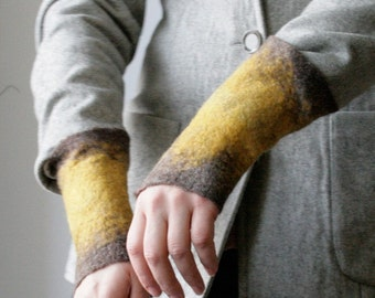 2 Mustard Wrist Cuffs/Arm Warmers --  - Hand felted wool