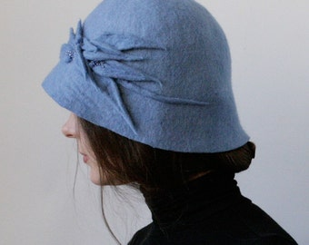 Steel Blue Cloche Hat -- Hand Felted Wool -- Size Medium