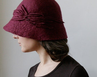 Burgundy Hat -- Hand Felted Wool -- Size Medium