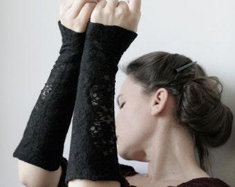 2 Black Wrist Cuffs/Arm Warmers - Hand felted wool