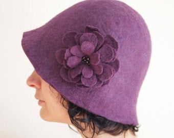 Plum Purple Cloche Hat -- Hand Felted Wool -- Size Medium