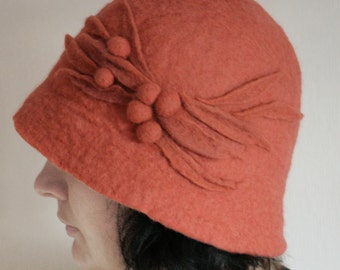 Terra Cotta Red Cloche Hat -- Hand Felted Wool -- Size Medium / Small