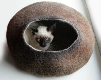 Cat Nap Cocoon / Cave / Bed / House / Vessel - Hand Felted Wool - Crisp Contemporary Design - READY TO SHIP Brown Bubble