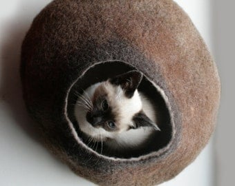 Cat Nap Cocoon / Cave / Bed / House / Vessel - Hand Felted Wool - Crisp Contemporary Design - READY TO SHIP Warm Brown Bubble