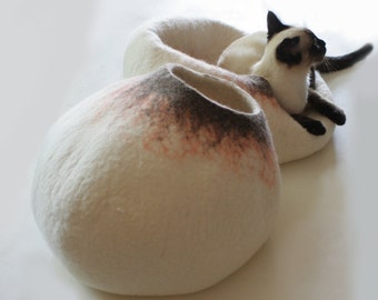 Cat Nap Cocoon / Cave / Bed / House / Vessel / Furniture - Hand Felted Wool - Crisp Modern Contemporary Design - READY TO SHIP Latte Bubble