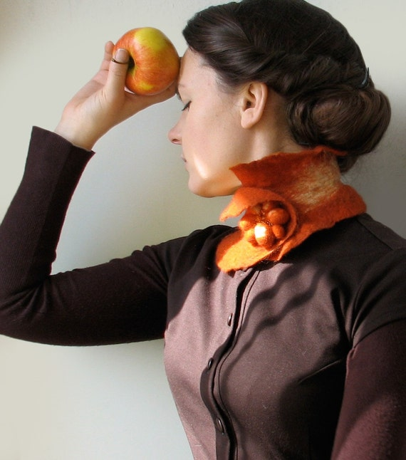Rusty Foxy Scarf Collar -- Felted Neck Piece -- made from wool
