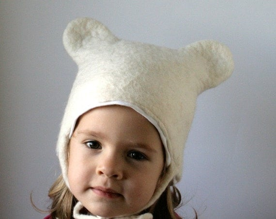 Bear Hat -- Hand Felted Wool -- Size 2/3 Years