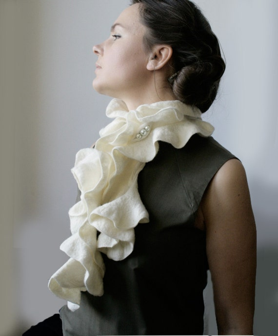 Milk Curls Scarf with Pin -- Nuno Felted Wool -- Wearable Art