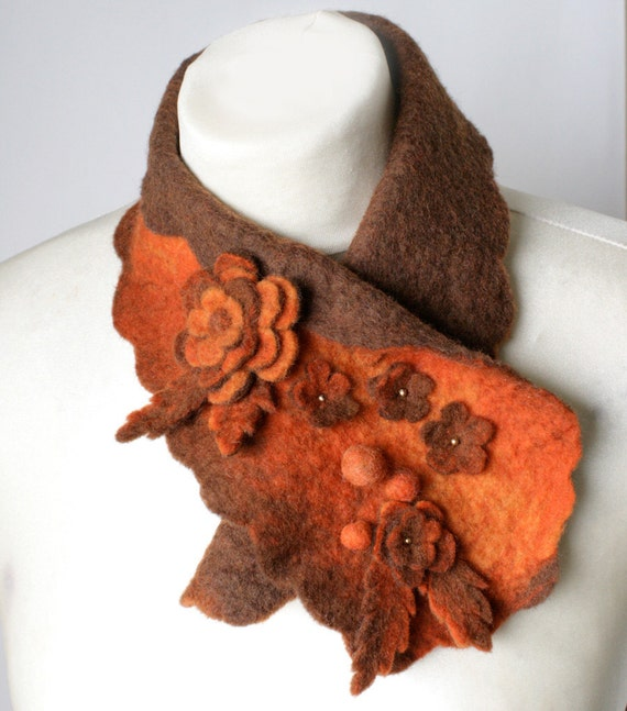Orange Scarfette -- Felted Neck Piece -- made from wool
