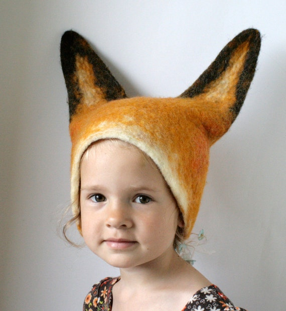 Fox Hat - Hand Felted Wool - Size Medium / Large