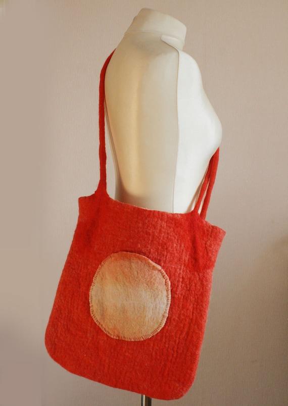 Orange Sunset Messenger Shoulder Felted Bag -- Hand felted wool -- OOAK -- Wearable Art