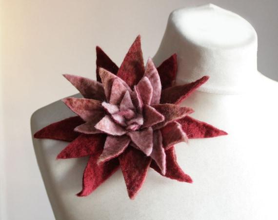 Pink Auburn -- Felt Flower Brooch -- Hand felted wool -- size X Large