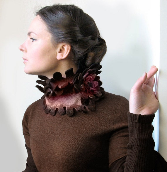 Rusty Pink Bird -- Felted Scarf -- made from wool -- Wearable Art