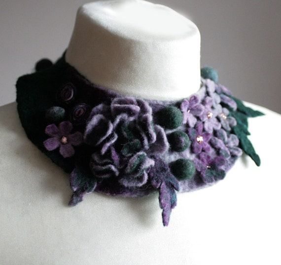 Frida Kahlo inspired Lavender Teal Meadow -- Felted Neck Piece -- made from wool