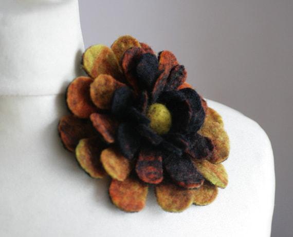 Firing Dahlia - Felt Flower Brooch - Hand felted wool - size Medium