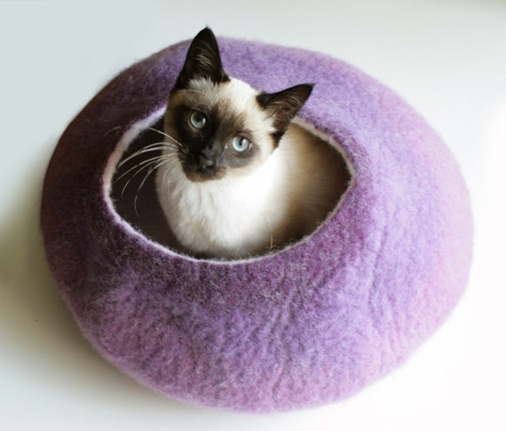 Warm Purple Bubble - Hand Felted Wool Cat Bed / Vessel - Crisp Contemporary Design - READY TO SHIP