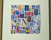Letter N - Art Print of  Alphabet Collage Series