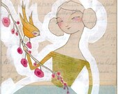 girl and bird art print - we are at the curve that never ends - limited edition - archival - print - cori dantini
