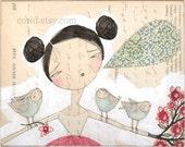 bird art print - meaningful exchange - 8 x 10 - limited edition - archival - print by cori dantini