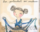 art about sewing - Her Potential was Endless - 5 x 10 archival & limited edition art print by Cori Dantini