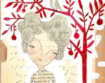 girl with apple mixed media painting, art for teacher. watercolor limited edition archival print cori dantini