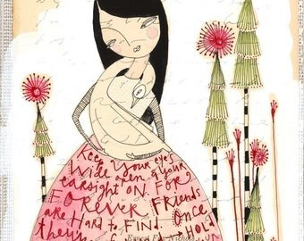 watercolor about friendship, painting, girl and bird befriend 5 x 7 inch  limited edition archival print