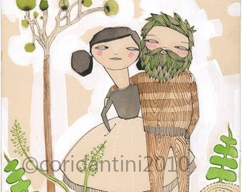 watercolor painting of a Man and woman - an archival print about LOVE - by cori dantini - 8 x 8 - limited edition ...archival.