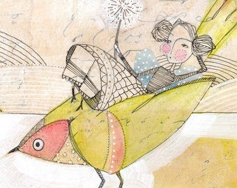 girl making a wish - girl on bird - thinking on wishing - limited edition archival print 8 x 10 inches