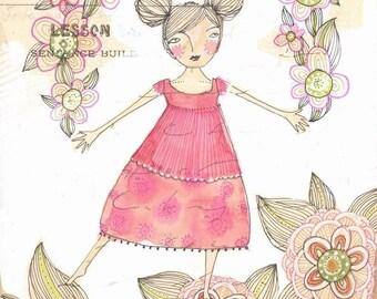 rainbow flower (girl)...an 8 x 8 inch limited edition archival print...