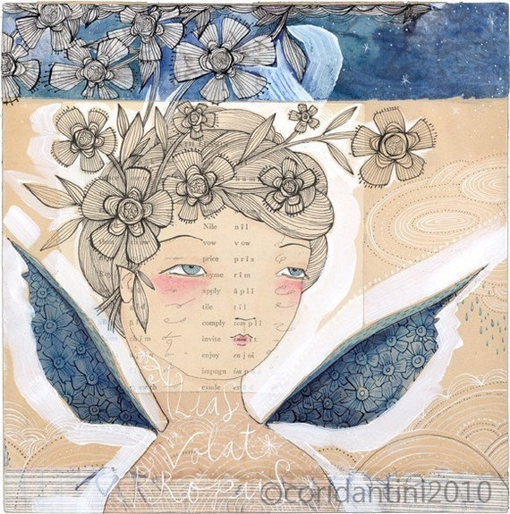 she flies with her own wings...12/100...an  8 x 8 inch limited edition archival print by cori dantini